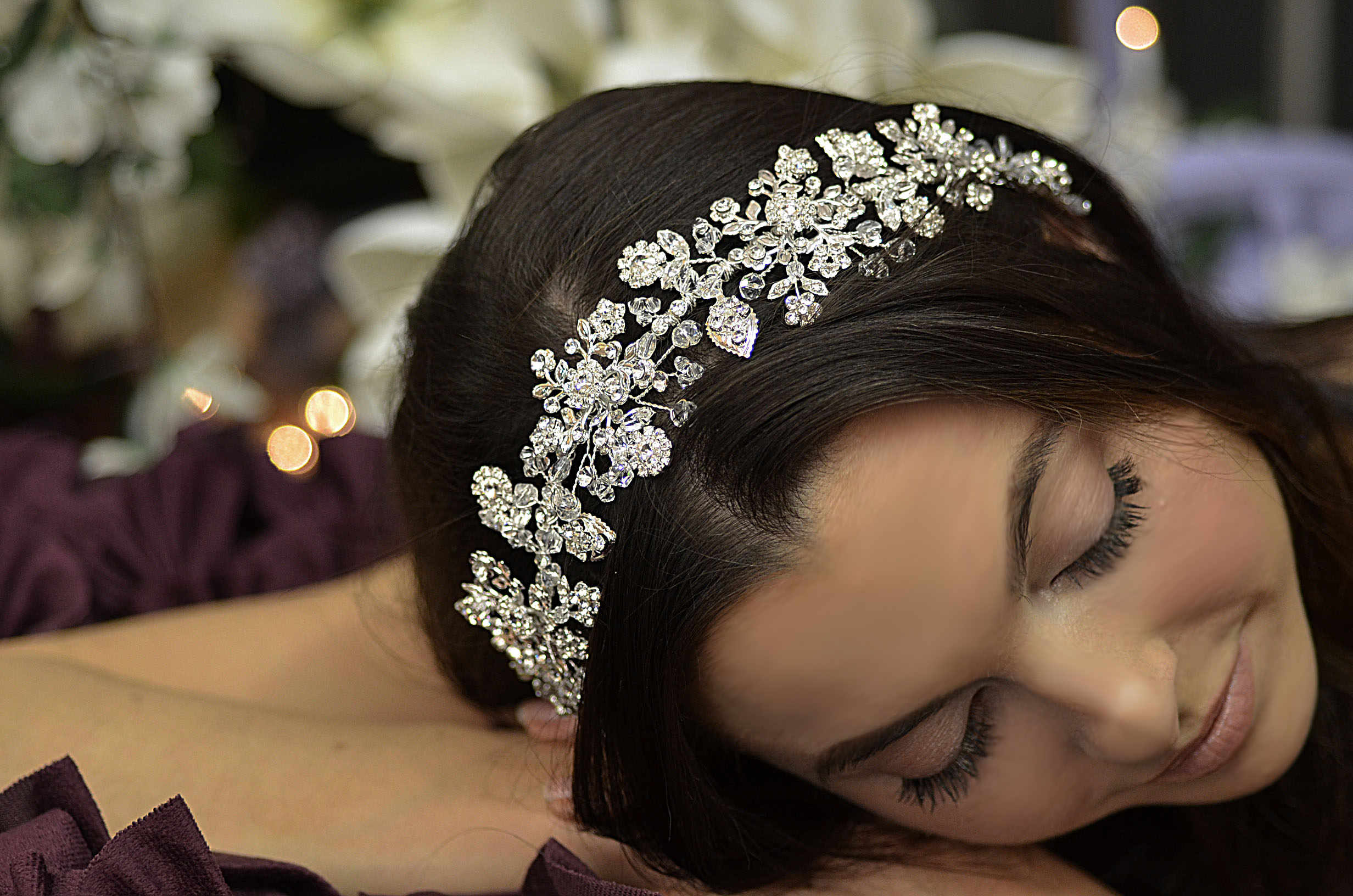E807 Floral Crystal Motif Headpiece (Flexible)