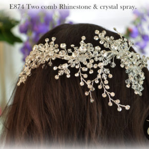 E874 Two comb Rhinestone & crystal spray.