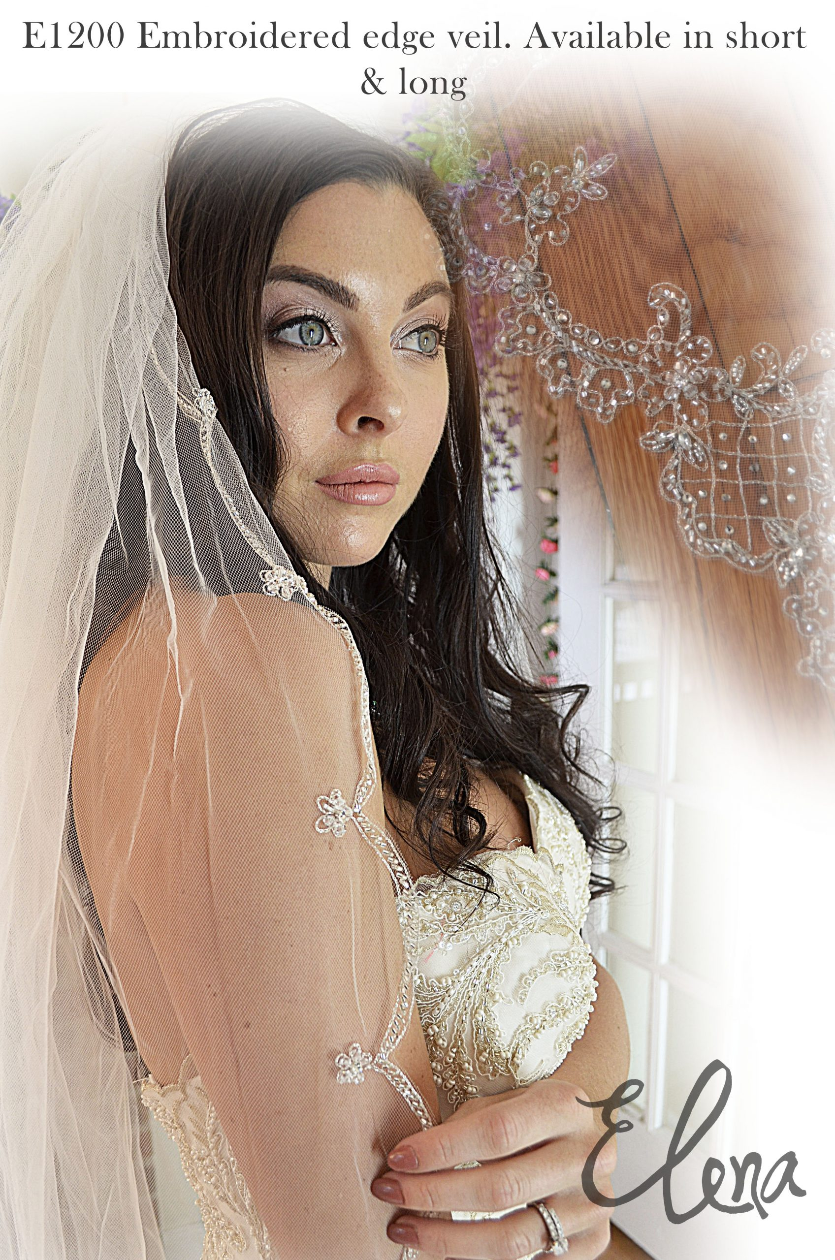 Elena E1200  Embroidered edge veil. Available in short & long