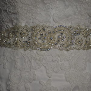 Rhinestone , Pearl, & silver beaded belt with organza ties.