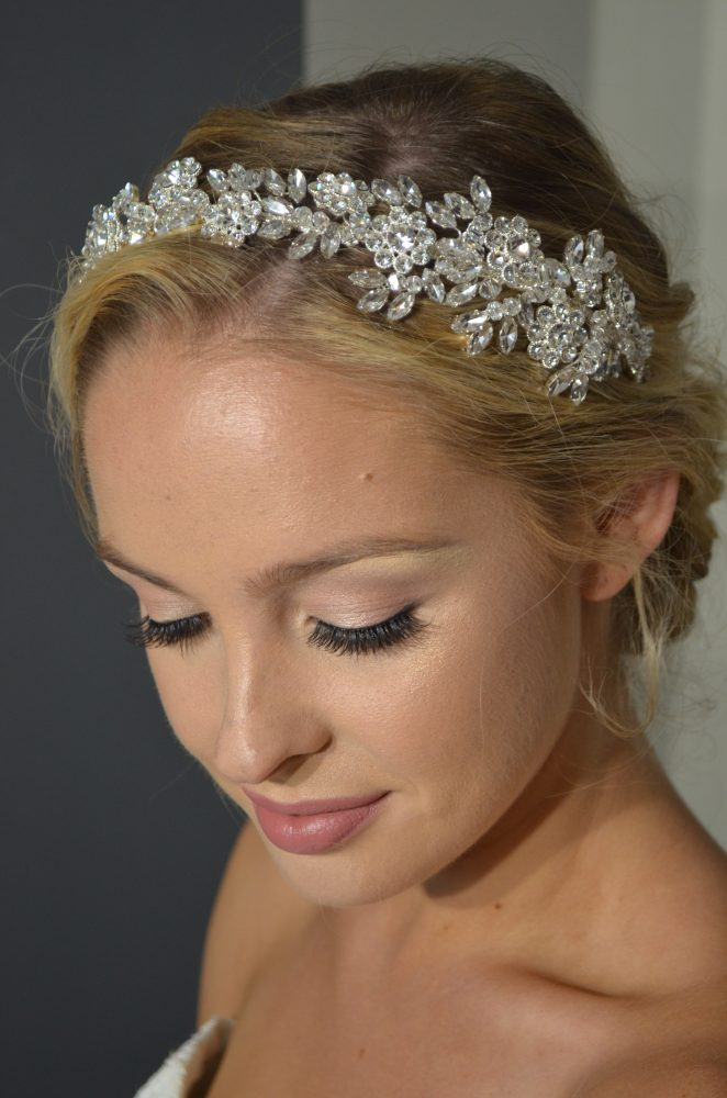 Rhinestone & crystal flower headband.