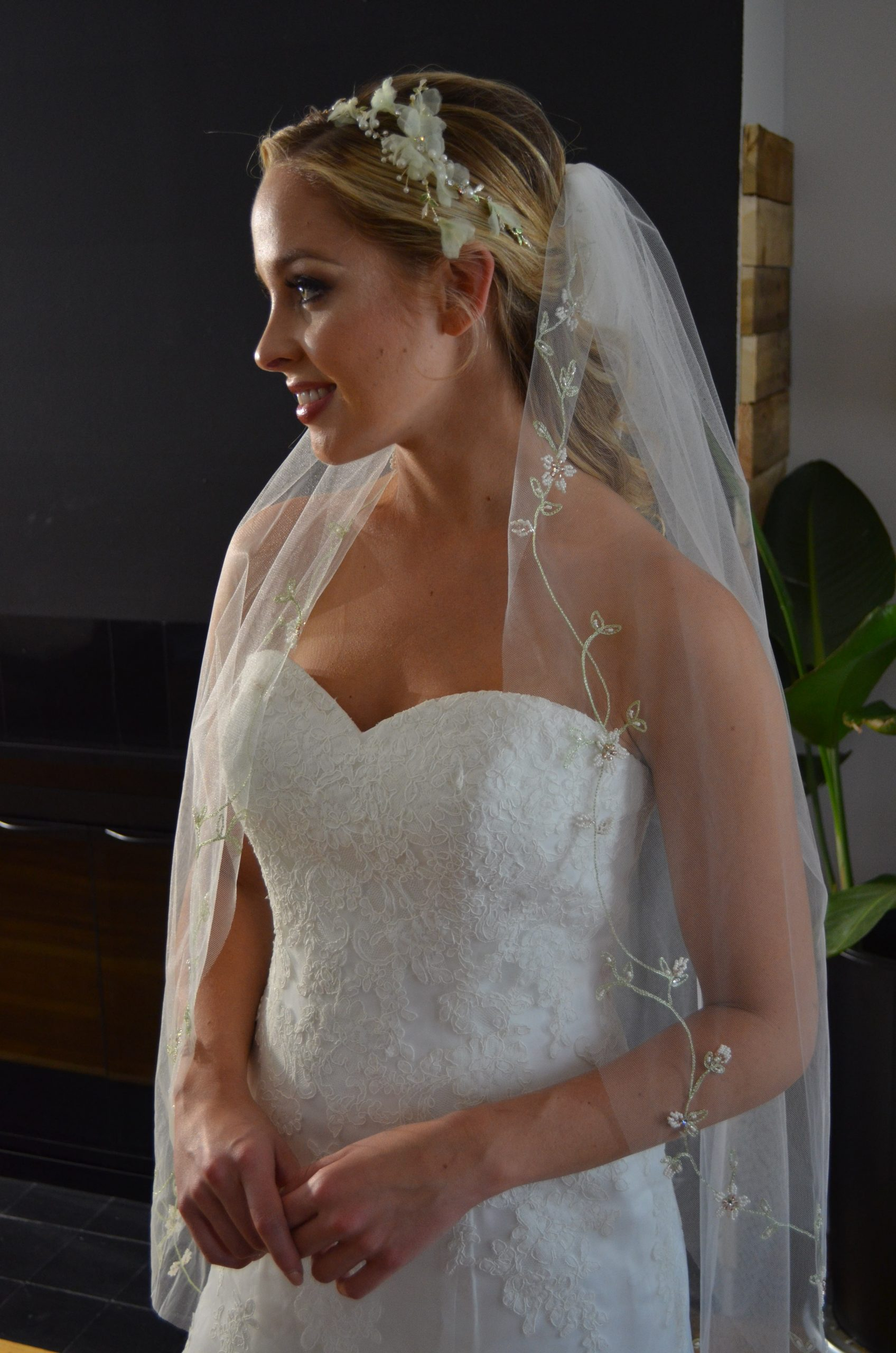 Elena E1210 One tier veil with embroidered floral vines along the edge embellished with beaded floral accents.