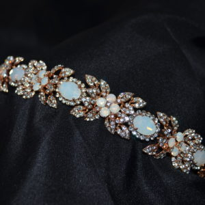 Opal and rhinestone headband. Available in silver and rose gold.