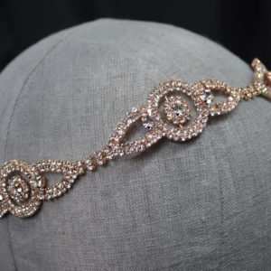 Rhinestone Headband or belt with organza ties. Available in silver and rose gold.