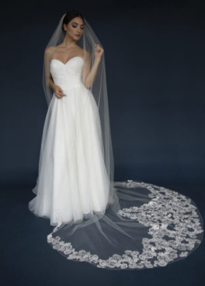 ELENA style E1196 short veil with lace appliques encrusted in rhinestones & beaded with crystals.