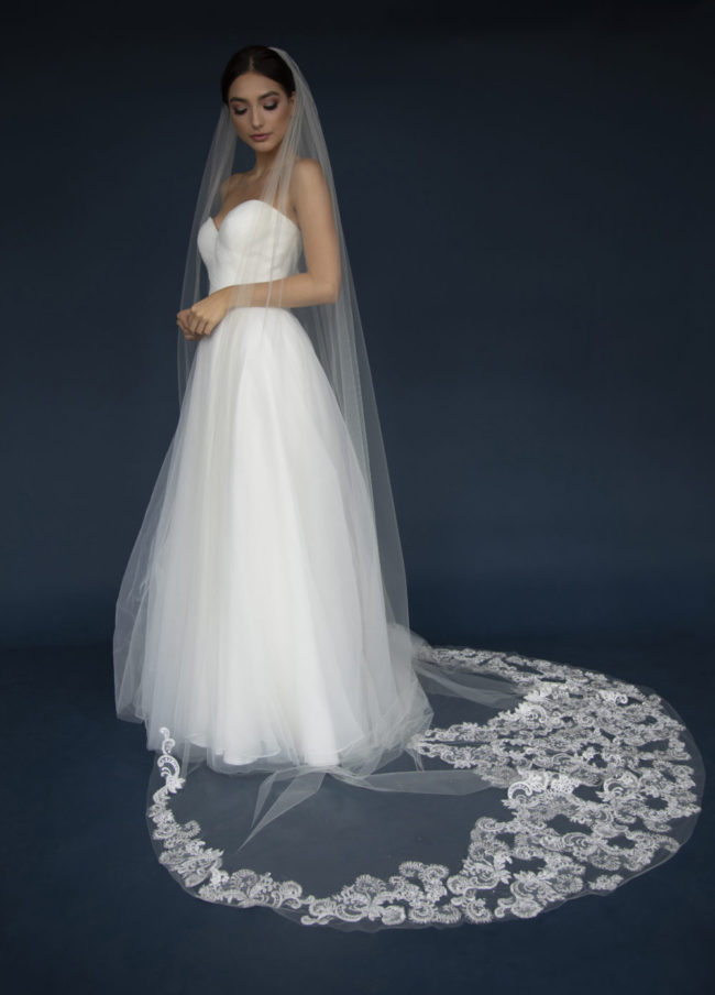 Elena E1196 Long Cathedral veil with lace appliques encrusted in rhinestones & beaded with crystals.