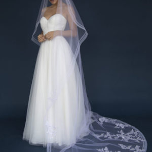 Long One tier Horse hair edge veil adorned with lace appliques with stones