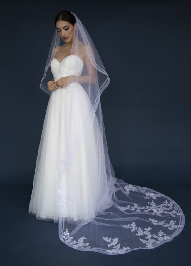 Elena 1300 Long One tier Horse hair edge veil adorned with lace appliques with stones