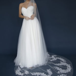 Long Cathedral veil with lace appliques & rhinestones.