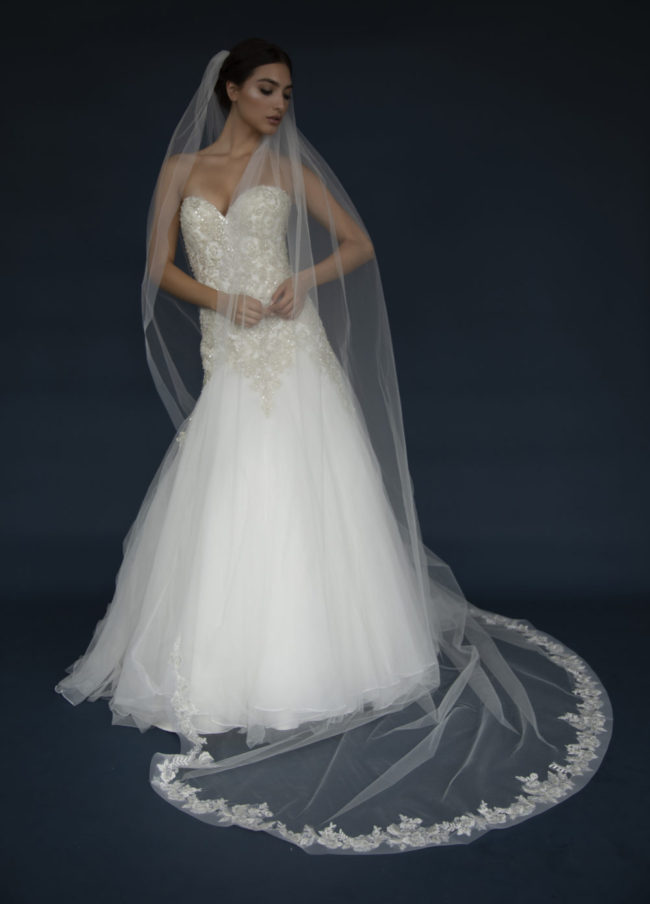 ELENA E1307 Long Horsehair edge veil with lace appliques.
