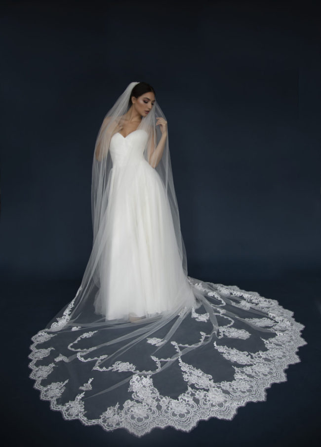 ELENA E1308 Long Lace edge Cathedral veil