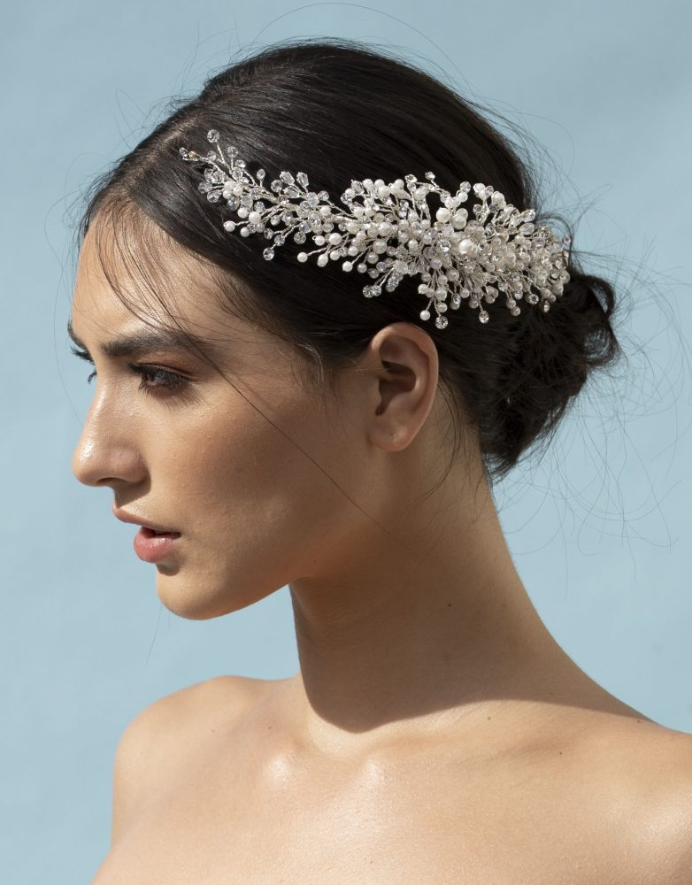 Elena designs headpiece style E963 Rhinestone and pearl comb.